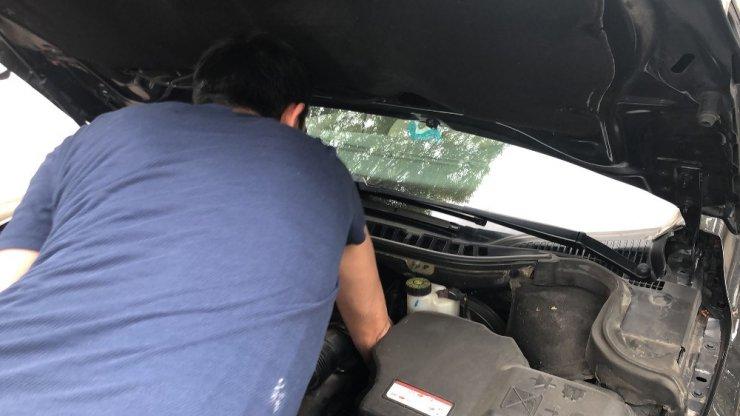 Araç Motoruna Giren 'Kedi' Kurtarıldı