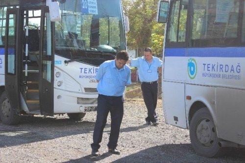 Tekirdağ Büyükşehir Belediyesinin Otobüslerine El Koydular